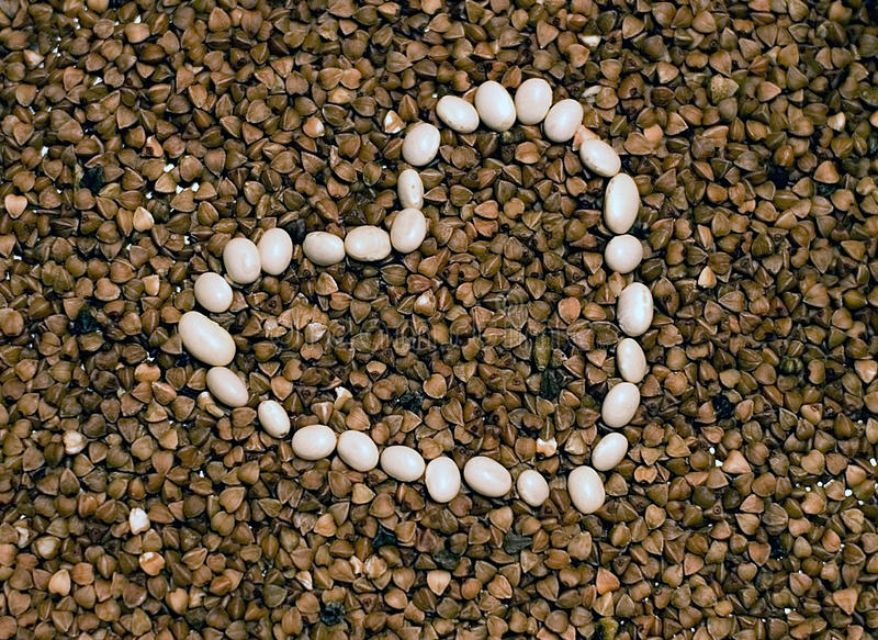 Download Romantic Buckwheat And White Beans Heart Stock Image - Image of buckwheat, effect: 22545605
