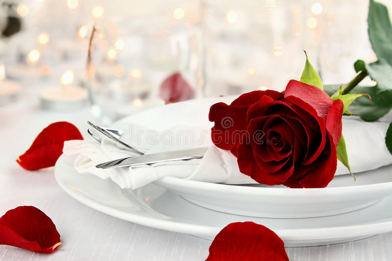 Romantic Candlelite Table Setting royalty free stock images