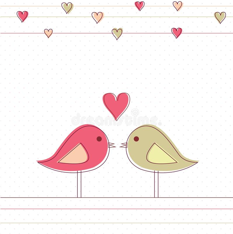Romantic Card With Birds In Love Royalty Free Stock Photography