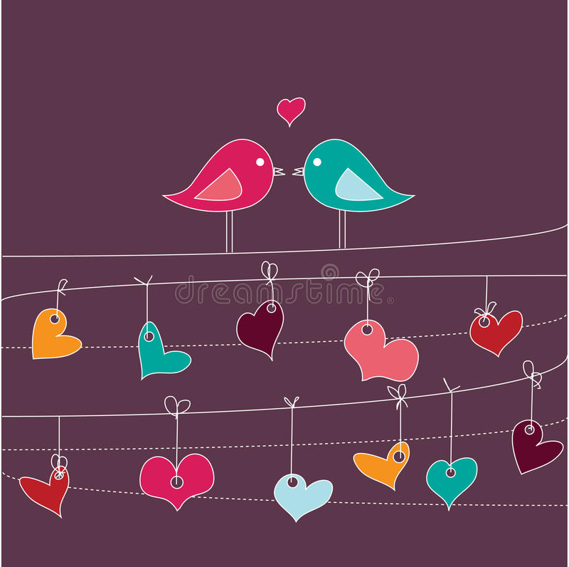 Download Romantic Card With Birds In Love Royalty Free Stock Images - Image: 16813419