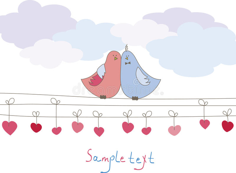 Romantic card with birds. Vector illustration stock illustration