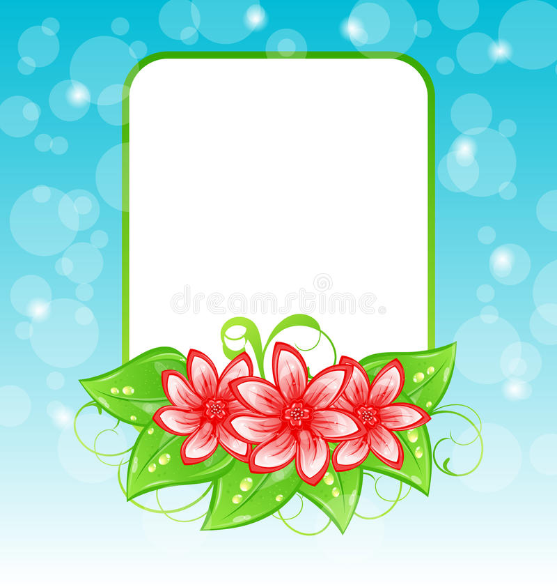 Romantic card with flowers and place for text