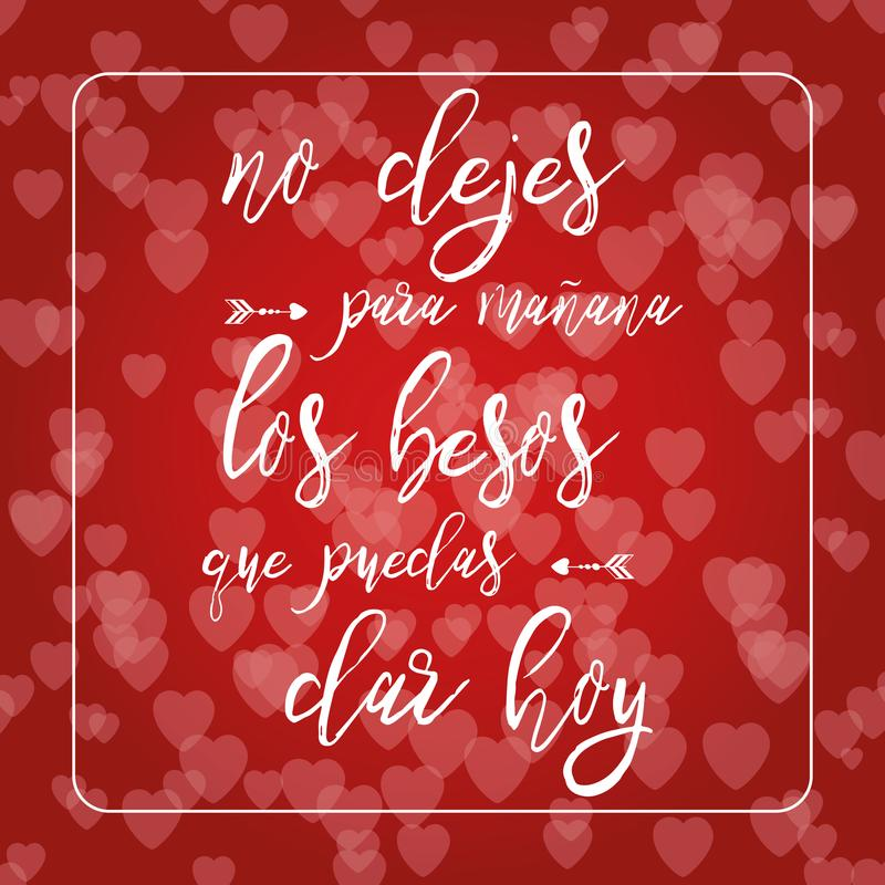 Phrase about love in red hearts bokeh background. Romantic card. Lettering element. Text in Spanish royalty free illustration