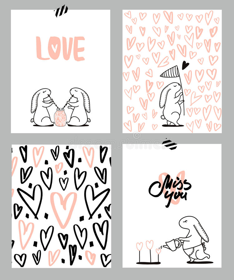 Romantic cards set. Four Valentine`s day cards with cute Rabbit and hearts. Vector Illustration. royalty free illustration