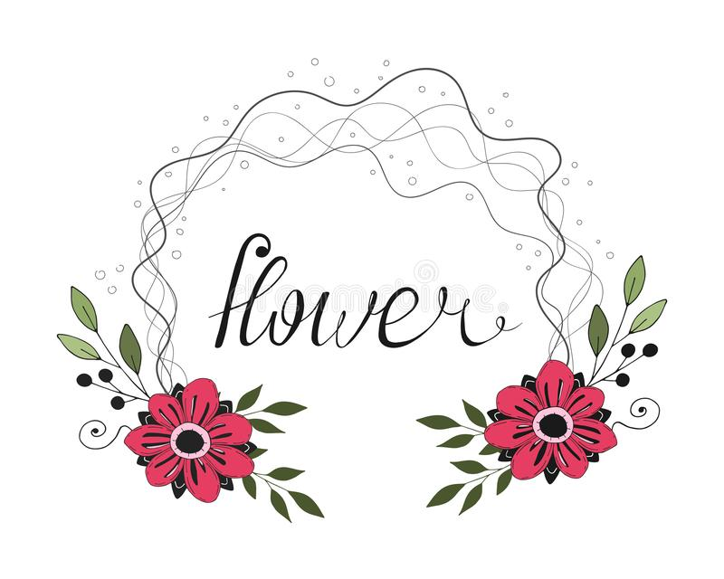 Romantic cartoon colored flower frame with caligraphic inscription. vector illustration. vector illustration