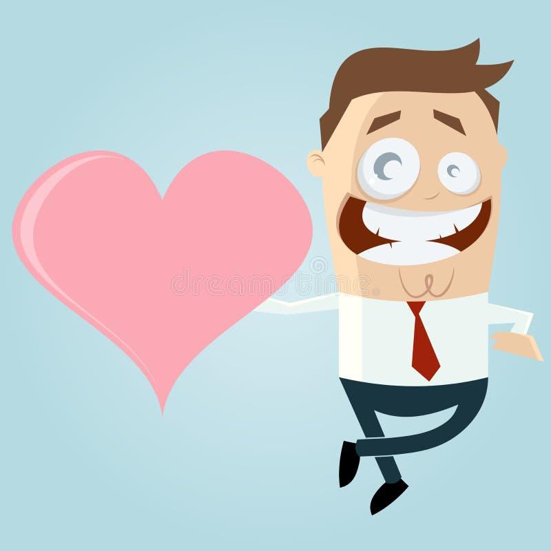Cartoon man with big heart royalty free illustration