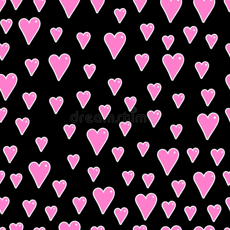 Romantic cartoon seamless pattern. vector with red hearts on a dark background. hand drawing. Design for fabric, print, textile, wrapping paper vector illustration