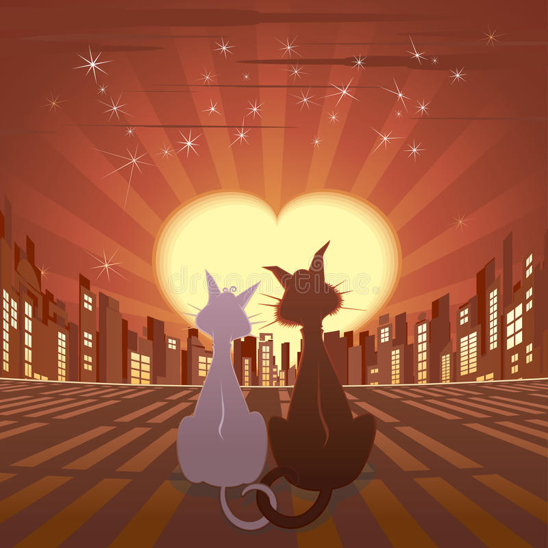 Download Romantic cats in city stock vector. Image of graphical - 14404460