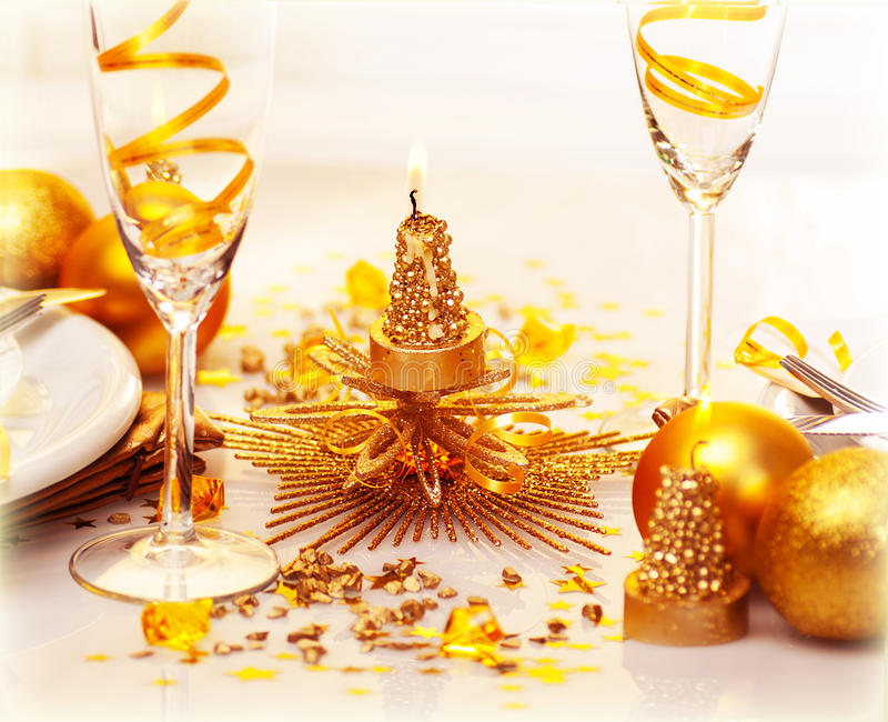 Download Romantic Christmas dinner stock photo. Image of gold - 27848714
