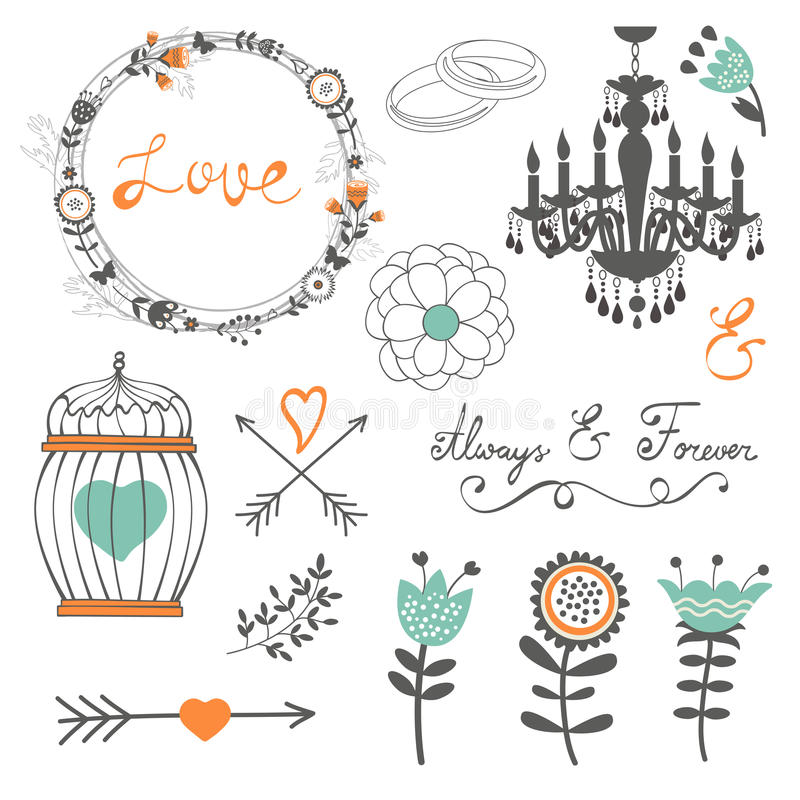 Romantic collection with flowers, wreaths and stock illustration