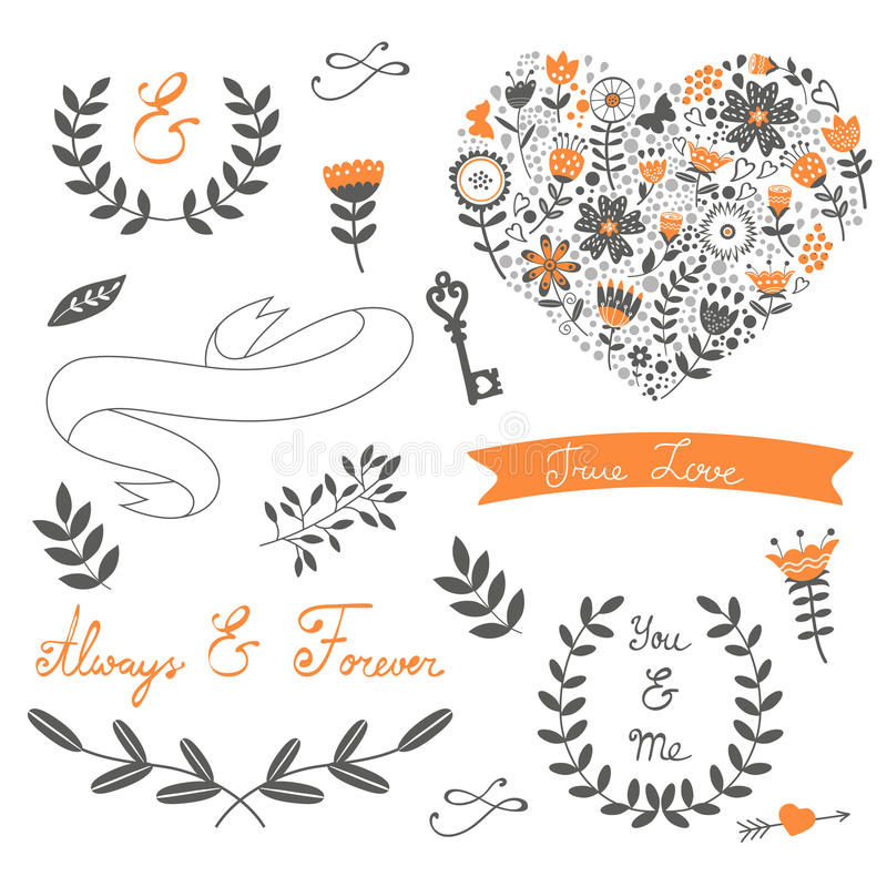 Romantic collection with flowers, wreaths and vector illustration