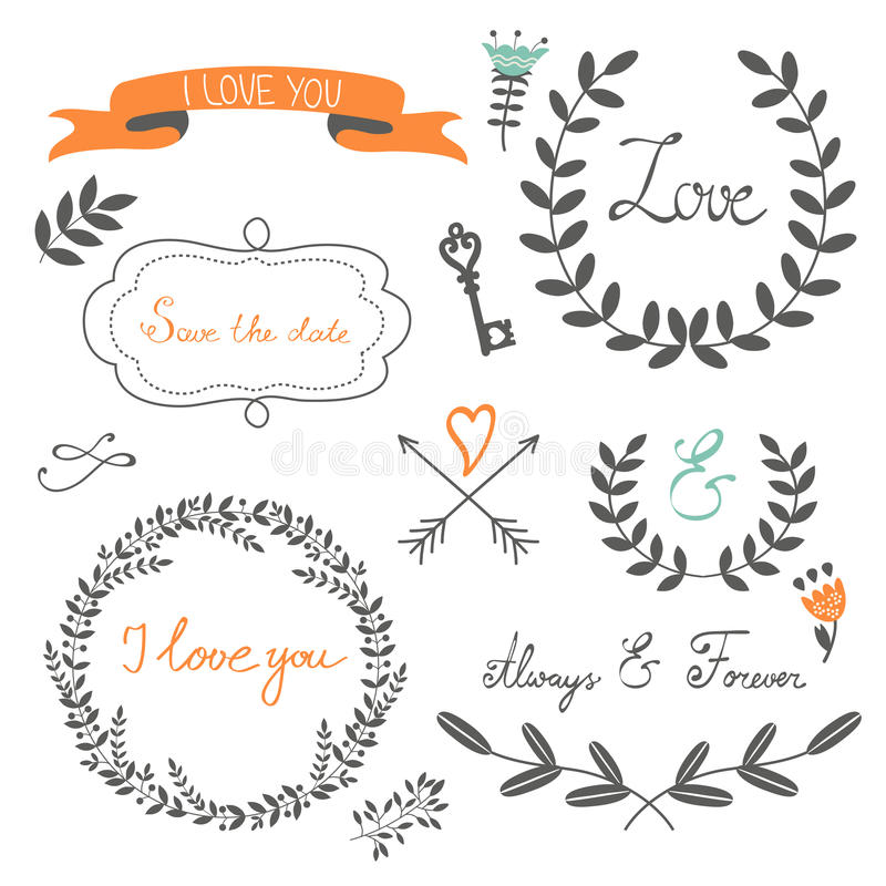 Romantic collection with flowers, wreaths vector illustration