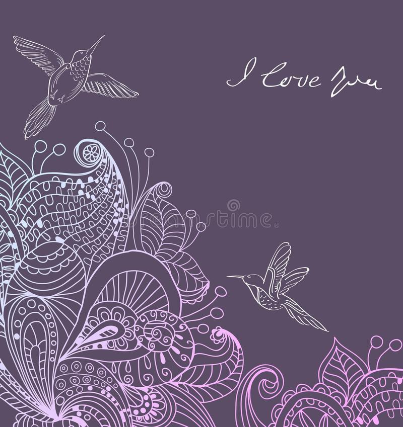 Romantic Colorful Floral Background With Birds Stock Photography
