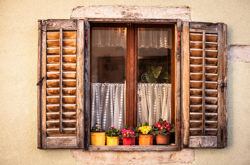 Romantic colorful vintage window stock image