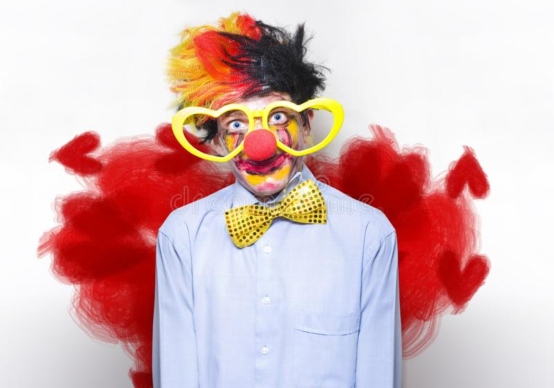 Romantic Comedy Clown Wearing Heart Shape Glasses Royalty Free Stock Photography
