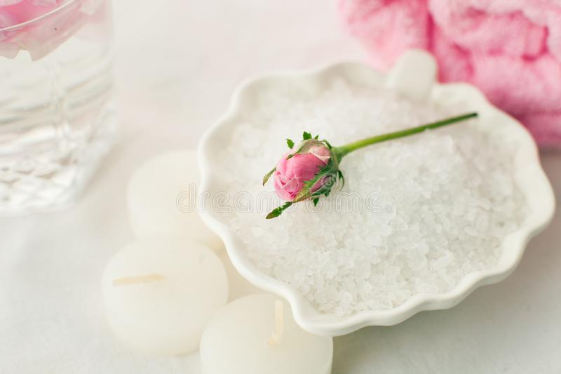 Romantic composition with candles and flowers. The concept of Spa, cosmetic, procedure, treatment. aroma theme.  stock photography
