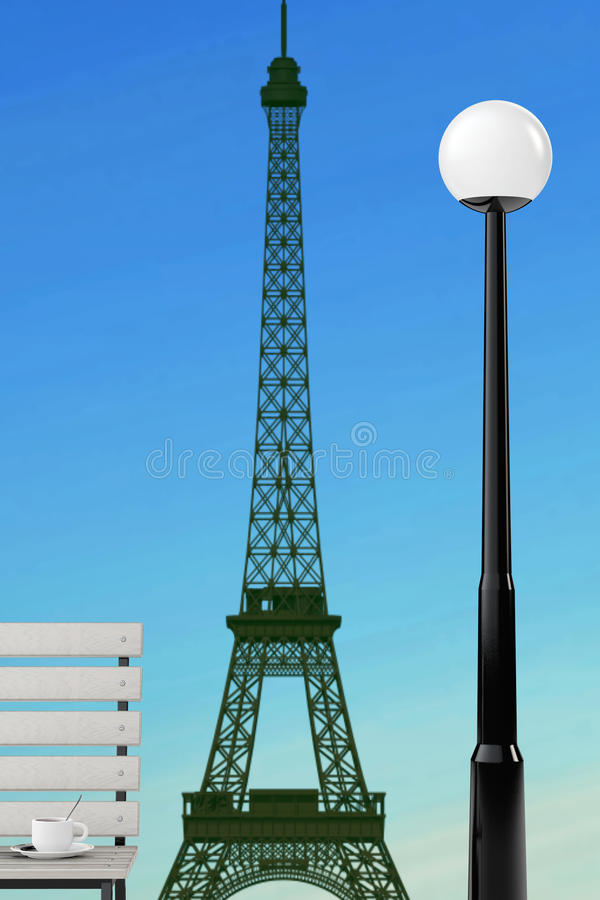 Romantic Concept. Eiffel Tower, Bench and Street Lamp. 3d Render. Romantic Concept. Eiffel Tower, Bench and Street Lamp extreme closeup. 3d Rendering royalty free illustration