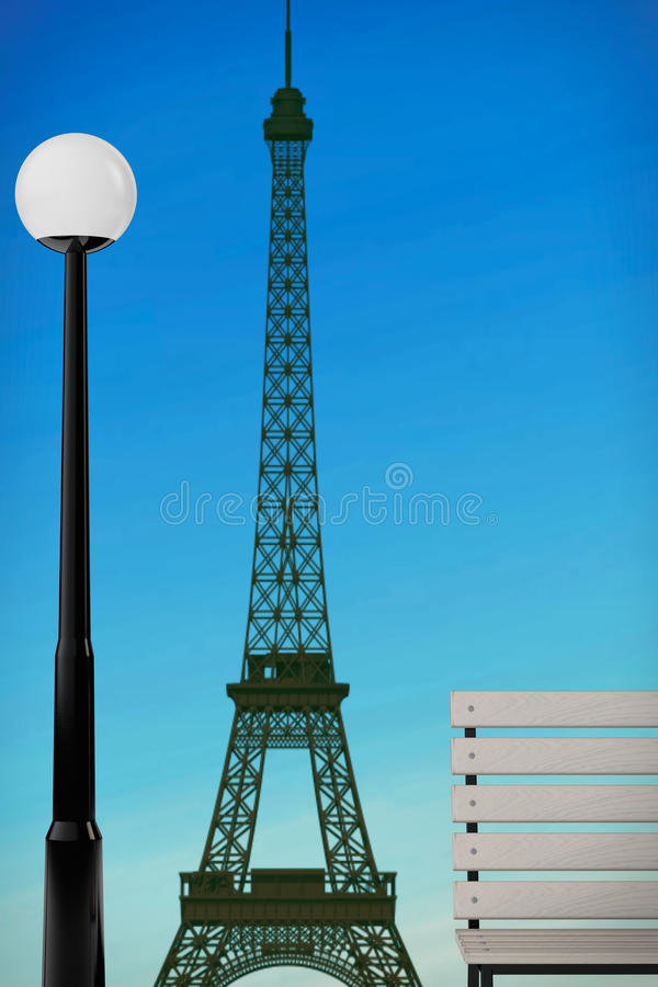 Romantic Concept. Eiffel Tower, Bench and Street Lamp. 3d Render. Romantic Concept. Eiffel Tower, Bench and Street Lamp extreme closeup. 3d Rendering vector illustration