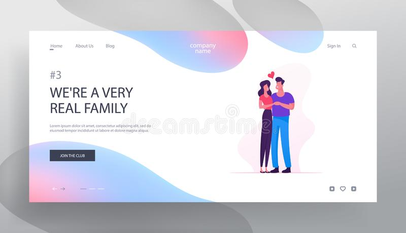 Romantic Connection and Love Website Landing Page. Couple Hugging. Happy Lover Relationship Anniversary Dating. Lifestyle. Feelings Emotions Romance Web Page royalty free illustration