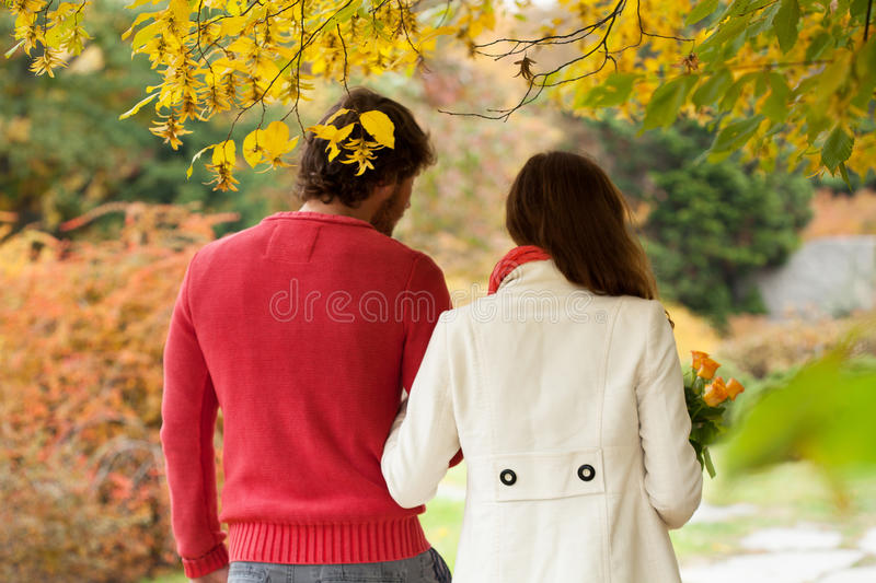 Romantic conversation in park. Romantic conversation during autumn walk in the park royalty free stock images