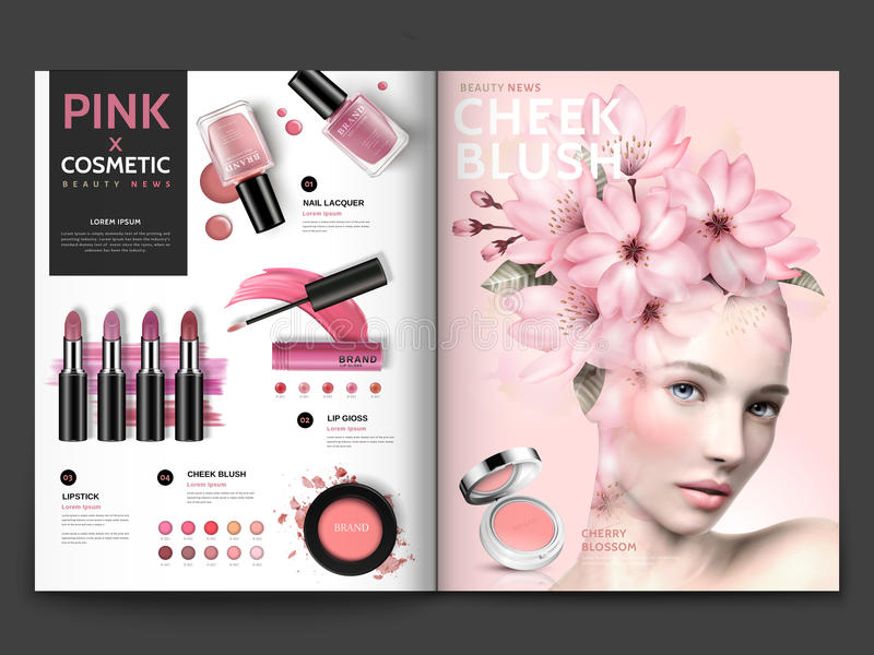 Romantic cosmetic magazine template royalty free illustration