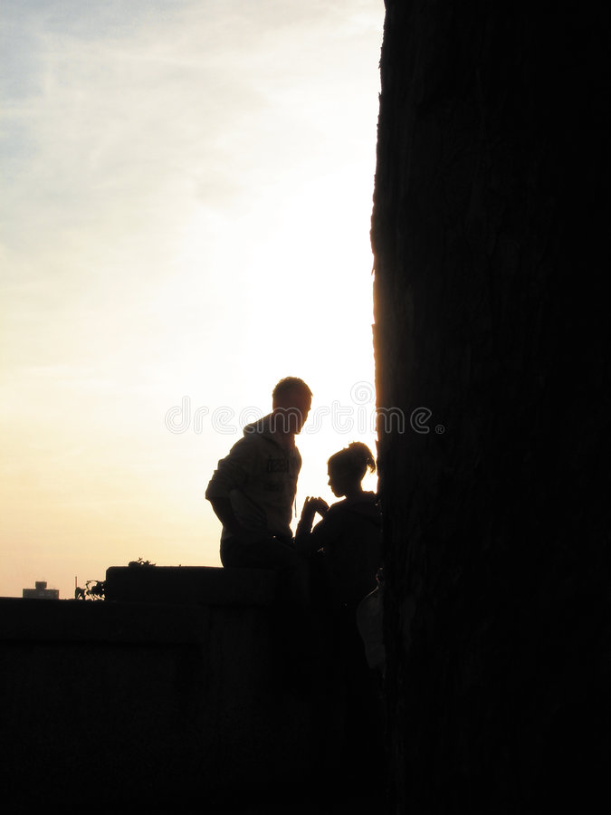 Romantic couple. In afternoon light royalty free stock photo