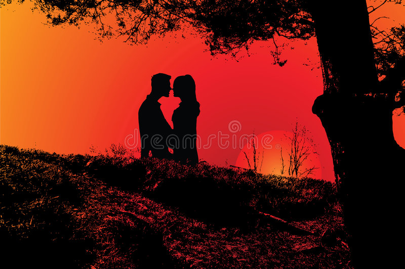Romantic couple. Illustration of romantic love in sunset vector illustration