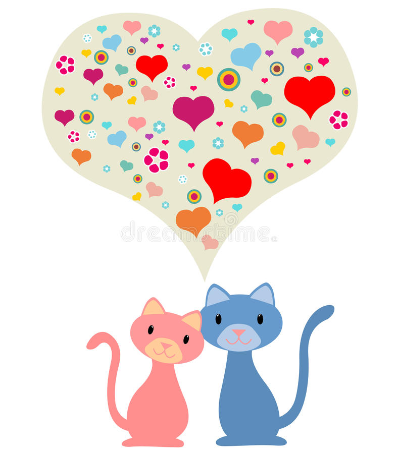Download Romantic couple of cats stock vector. Image of pair, illustration - 19225953