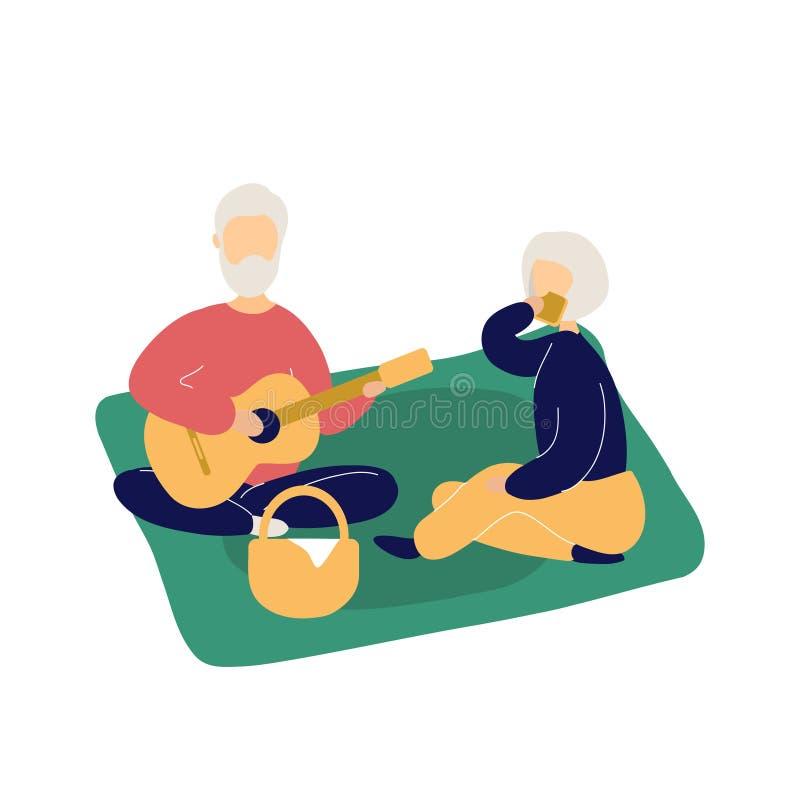 Couple of cute elderly people having picnic royalty free illustration