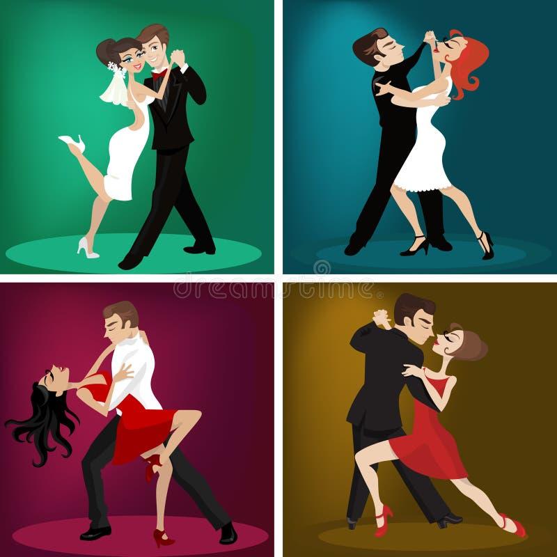 Romantic couple dance vector illustration