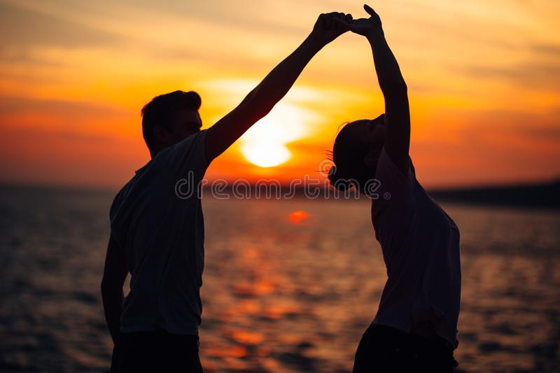 Romantic couple dancing on the street.Having a romantic date.Celebrating anniversary.Valentines day.Birthday date stock photo