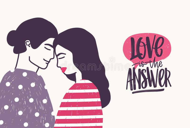 Romantic couple on date and Love Is The Answer phrase written with cursive font. Hugging boyfriend and girlfriend and. Handwritten lettering. Vector royalty free illustration