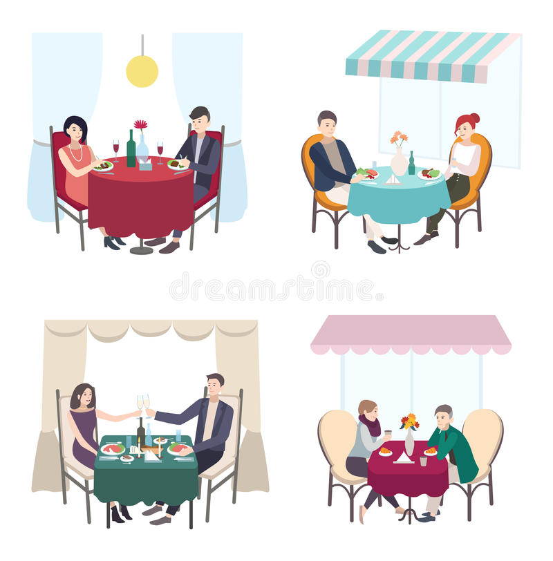 Romantic couple dinner in cafe, restaurant. set of men and woman date. Collection flat illustration. vector illustration