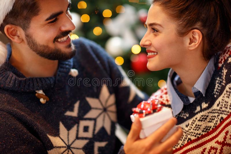 Romantic couple enjoying in the holidays royalty free stock photos