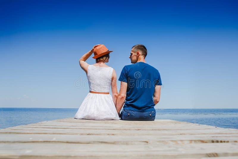Romantic couple enjoying vacation stock image