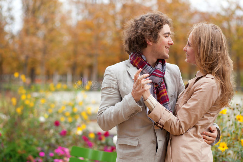 Romantic couple at fall, having a date. And hugging royalty free stock photo