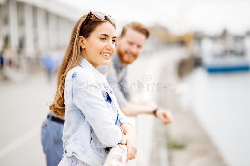 Romantic couple flirting. And dating outdoors stock images