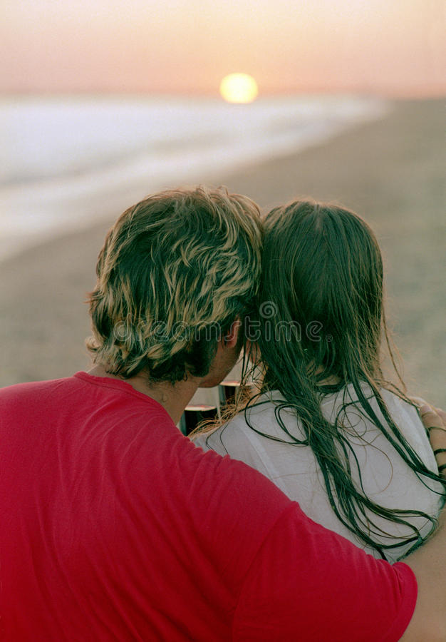 Download Romantic Couple With Goblet Of Wine On A Beach Stock Image - Image: 10206899
