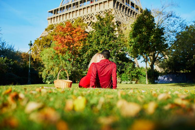 Romantic couple having picnic on the grass near the Eiffel tower stock photography