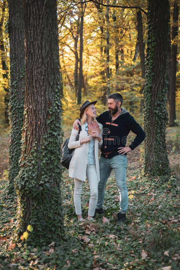 Romantic couple. Hello Autumn. Young couple with autumnal mood. Autumn travels. Happy couple on autumn walk. stock photos