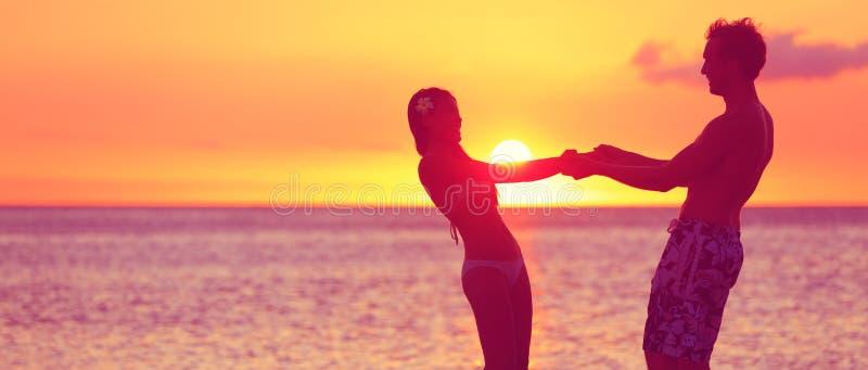 Romantic couple honeymoon travel banner on beach stock image