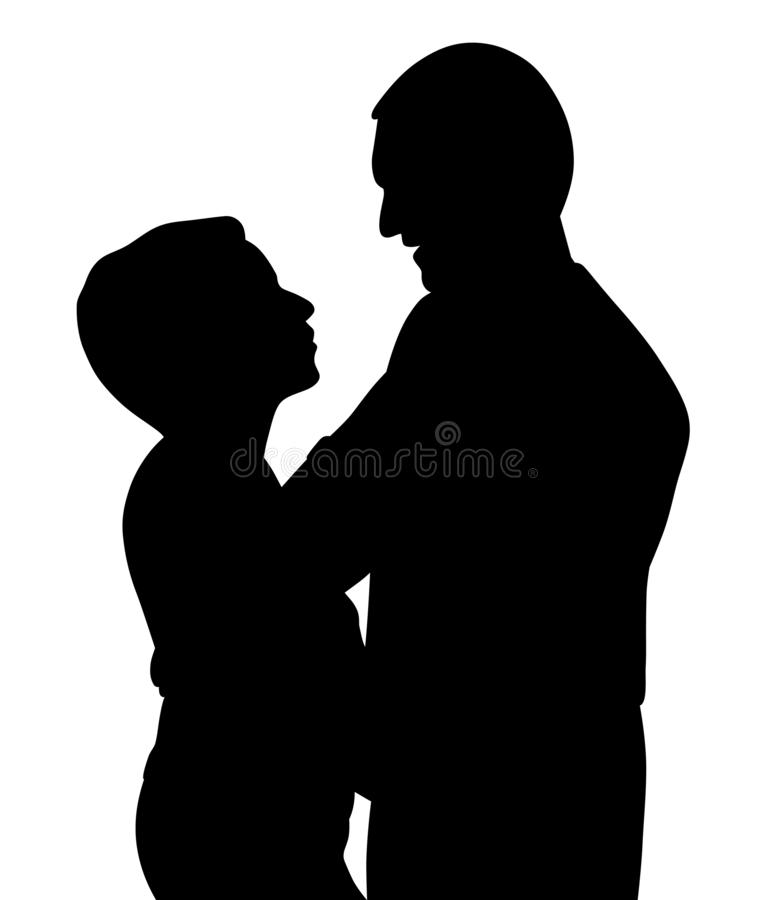 Romantic couple hugging dancing and talking. Illustration silhouette of a romantic couple hugging dancing and talking. Isolated white background. EPS file stock illustration
