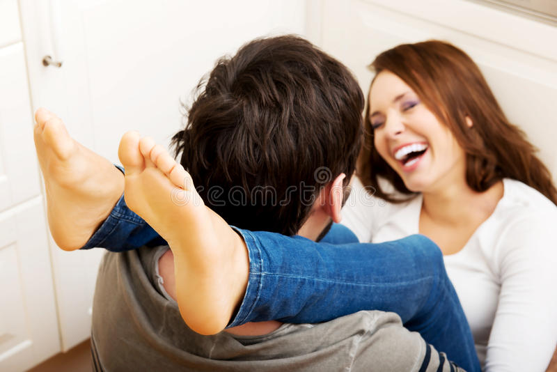 Romantic Couple Hugging In The Kitchen Stock Image - Image Of Passion, Male 49400463-2701