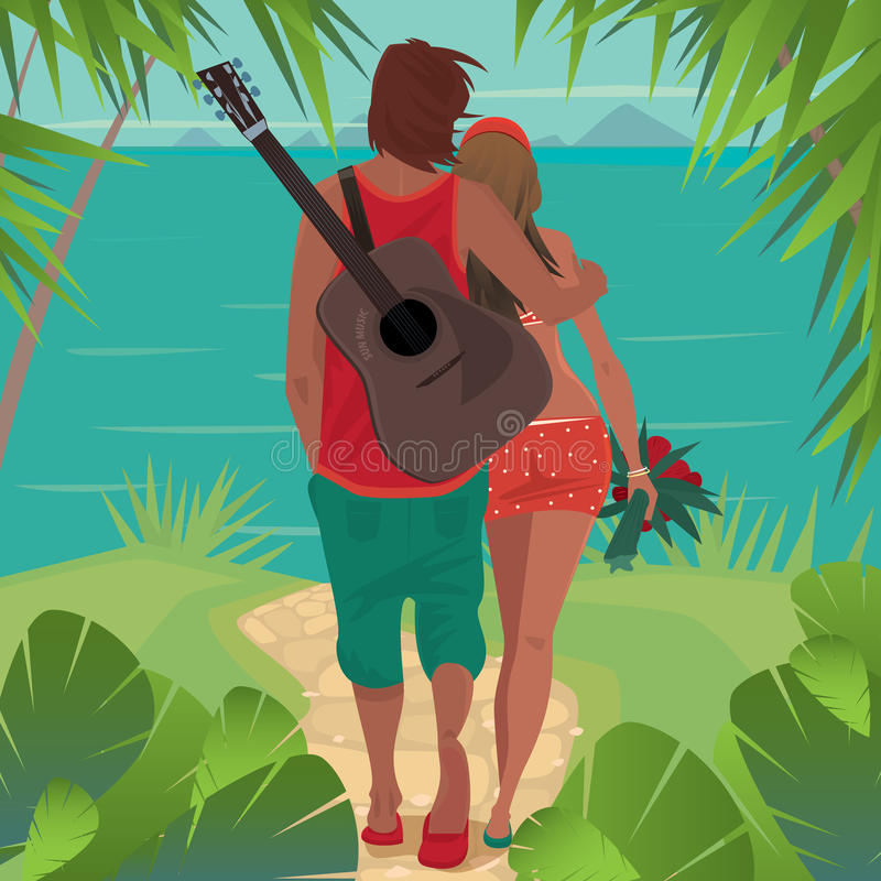 Romantic couple hugs on the island. Young healthy couple is standing on a tropical island and looks at the distant islands. The guy with a guitar, hugs girl royalty free illustration