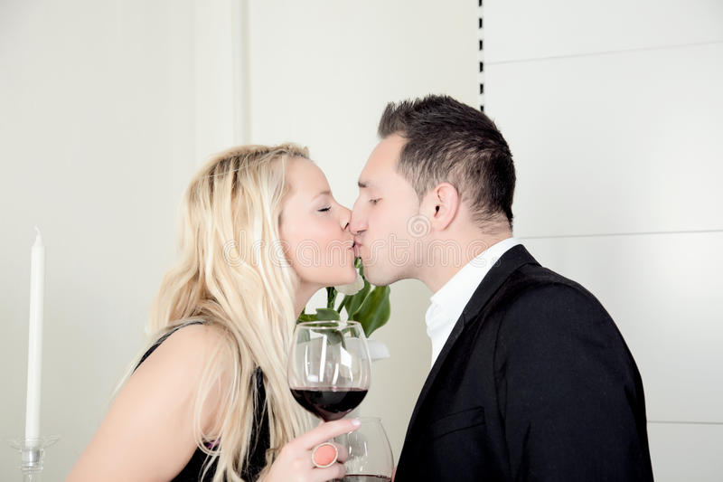 Romantic couple kissing royalty free stock photography