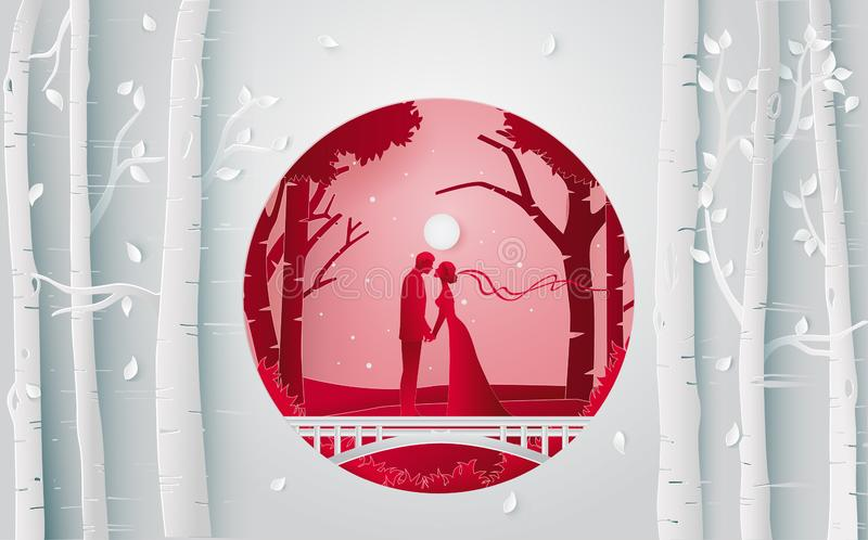 Romantic couple kissing in the forest when they have wedding party. Vector paper art and digital craft style vector illustration