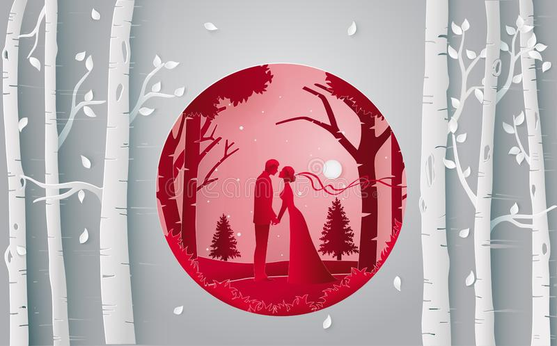 Romantic couple kissing in the forest. Paper art and digital craft style royalty free illustration