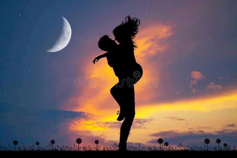 Romantic couple kissing. Illustration of romantic couple kissing royalty free illustration