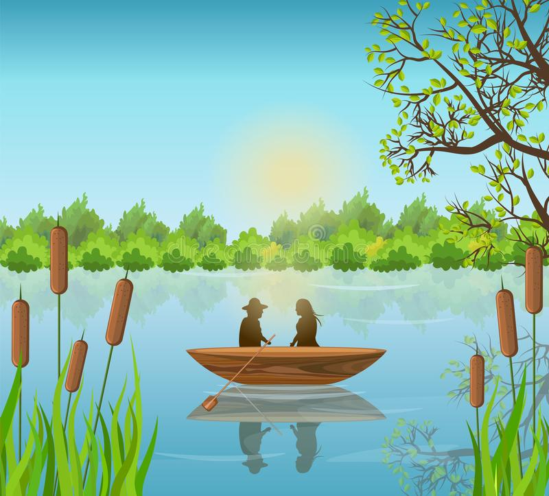 Romantic couple Lake background Vector illustrations stock illustration