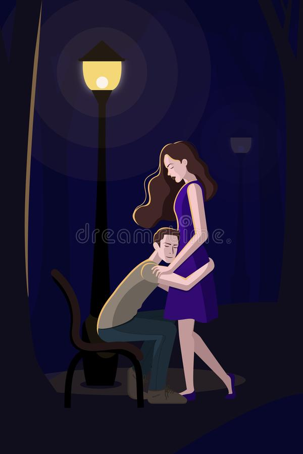 Romantic couple at the lantern in the Park stock illustration